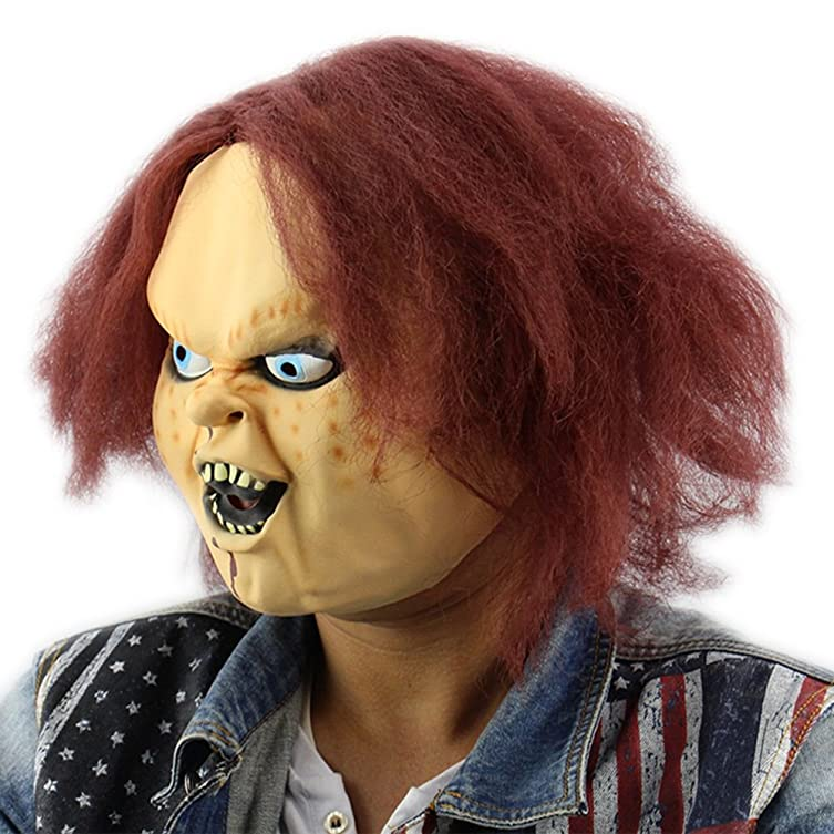 Amazon.com: Briday Horror Latex Mask for Child Play Chucky Action Figures Masquerade Halloween Party Bar Supply: Clothing