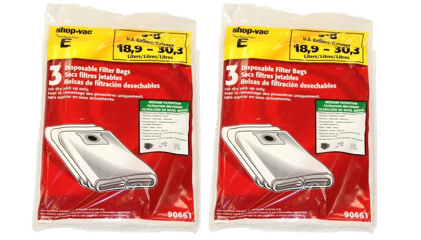 geniune Shop-Vac 90661, 906-61 9066100 Disposable Collection Bag for 5-8 Gallon Vacs 6 bags per pack