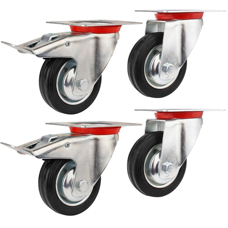 YAOBLUESEA Ruedas de Transporte de transporte Ruedas cargas pesadas rollos de muebles(2 x ruedas Ø 85 mm 2 x volantes Ø 85 mm con freno, 50 kg por rollo): ...