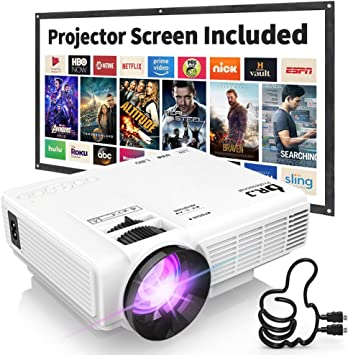 DR. J Professional HI-04 1080P Supported Portable Movie Projector, 3600L Mini Projector with 100Inch Projector Screen, Compatible with TV Stick, Video ...