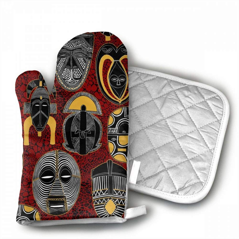 QWDGK Mask African Motifs Crazy Oven Mitts Cotton Quilting Lining, Oven Gloves Pot Holders Kitchen Set BBQ Cooking Baking, Grilling, Barbecue,