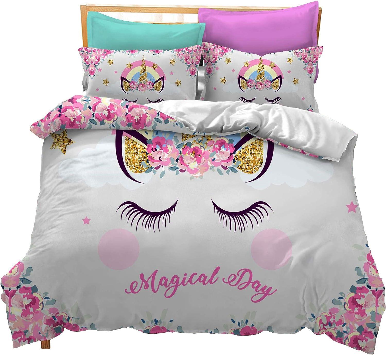 Prula Cooper Girl Unicorn Bedding Set White Pink Golden Ears Unicorn Bedding Duvet Cover Set Full Girls Printed Modern Lightweight Kids Bedding Set for Teens (U08, Full)