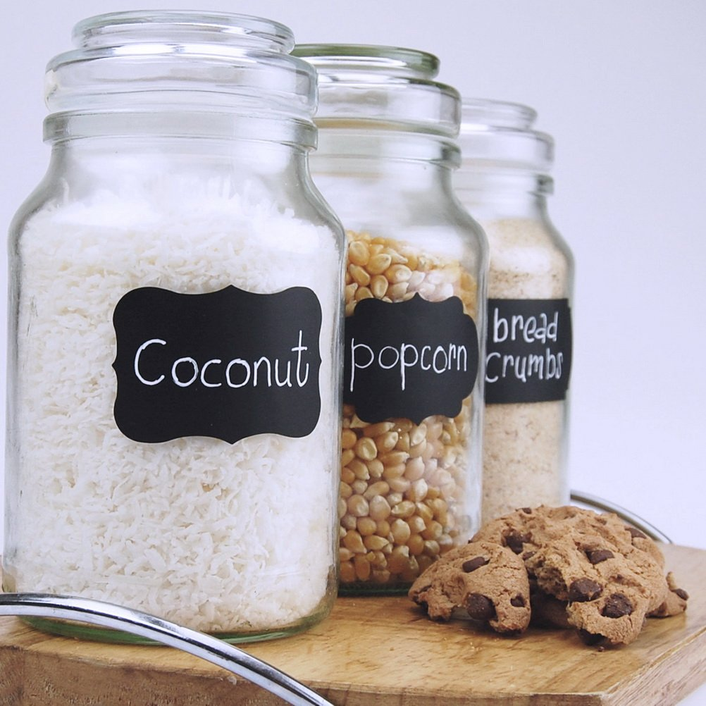 Jars Large and Reusable Blackboard Stickers Bundle for Pantry Wine Glasses Pengxiaomei 36 Piece Chalkboard Labels