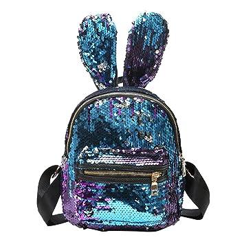 NELNISSA Mini Lentejuelas Mochila Escolar Mujeres Niñas Orejas de Conejo Bolsa de Viaje Mochila Hombro (Azul): Amazon.es: Equipaje