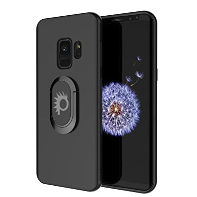 Galaxy S9 Case, Punkcase Magnetix Protective TPU Cover W/Kickstand, Ring Grip Holder & Metal Plate for Magnetic Car Phone Mount Plus PunkShield Screen Protector for Samsung S9 Edge [Black]