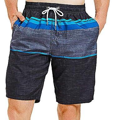 cc1407df14 Simayixx Men Pants Summer Men's Colortful Striped Swim Trunks Beach Board  Shorts with Lining Teen Boys