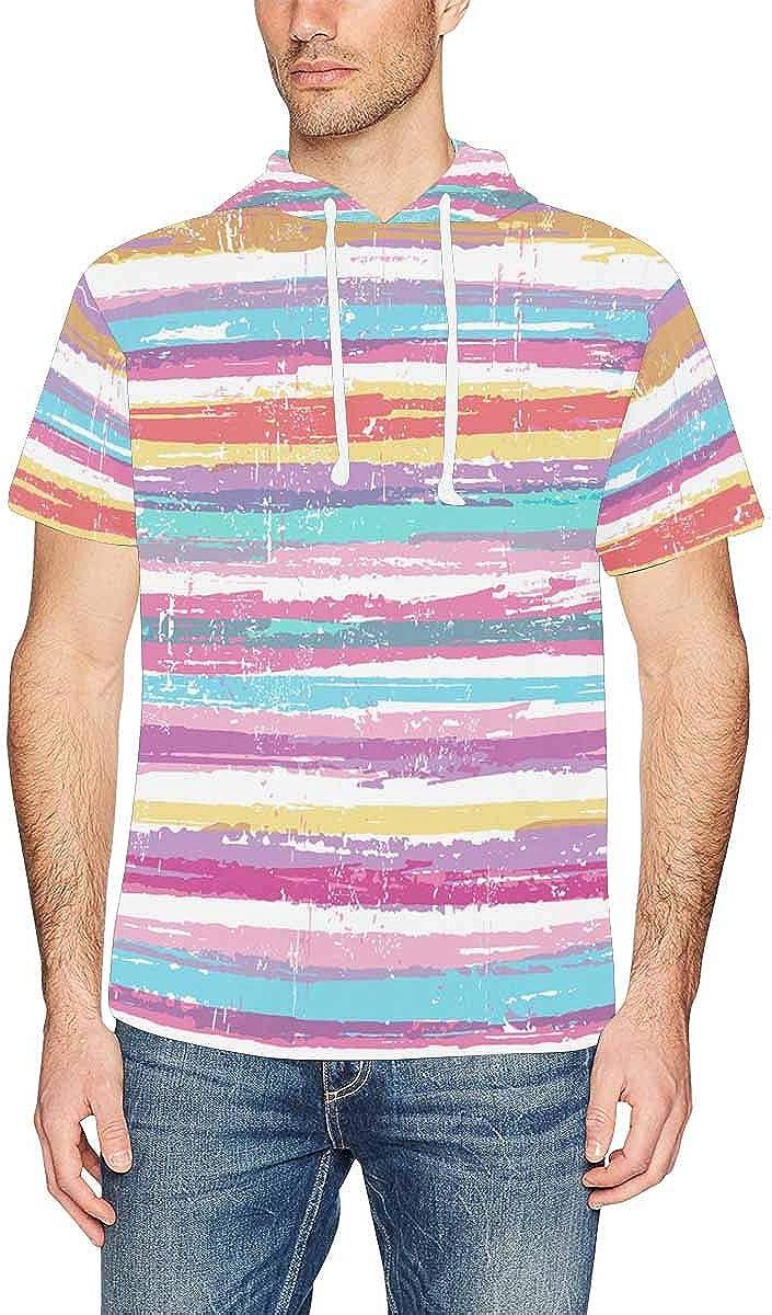 INTERESTPRINT Mens Hoodies Shirts Rustic Patterns Lightweight Short Sleeve Pullover XS-2XL