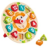 Hape Chunky Clock Puzzle Game, Multicolor, 9.65'' x 1.38''