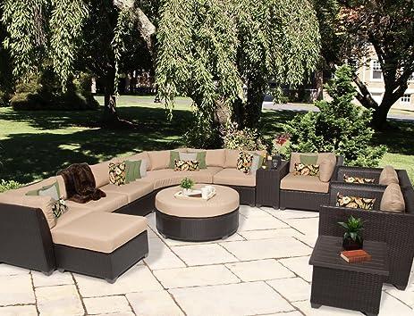TK Classics 12 Piece Barbados 12A Outdoor Wicker Patio Furniture Set, Wheat