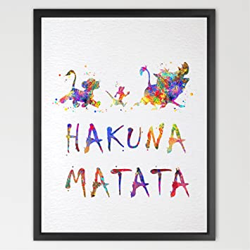 Dignovel Studios 13X19 Hakuna Matata The Lion King Inspired Watercolor Art  Print Wall Art Poster Home