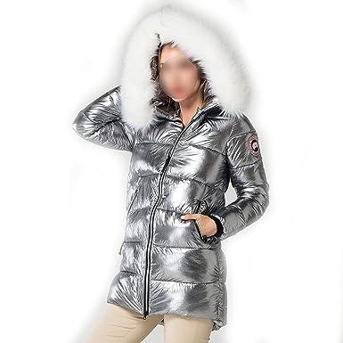 Amazon.com: Elegant White Fur Collar Coat Winter Jacket ...