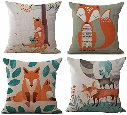 Fossrn Fundas Cojines 45x45, Tropical Geometría Animal Fox Funda de Cojines para Sofa Modernos Jardin Cama Decorativo (Animal Fox): Amazon.es: Hogar