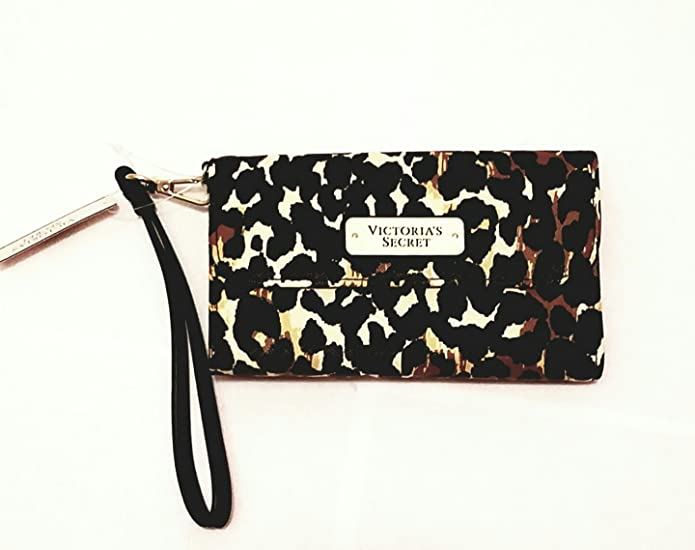 Victorias Secret LEOPARD PRINTS Wristlet Clutch / Wallet / Phone Case NWT