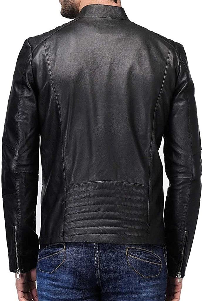 Men Leather Jacket Slim Fit Biker Motorcycle Genuine Cow Leather Jacket LFC607