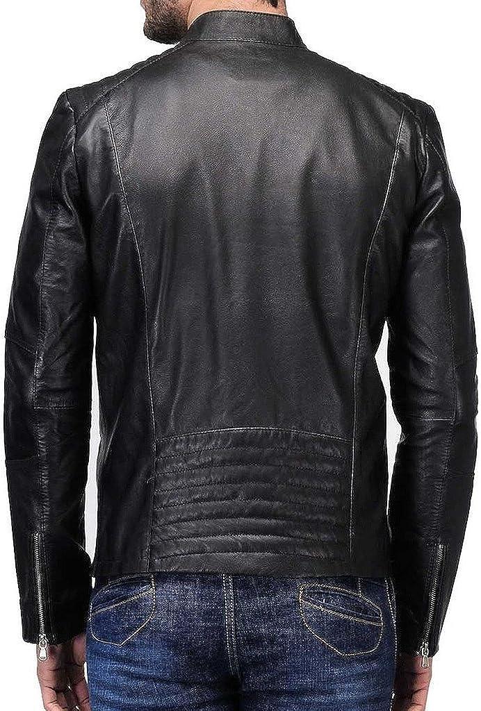 Pristine Leather Mens Motorcycle Slim Fit Leather Jacket Coat