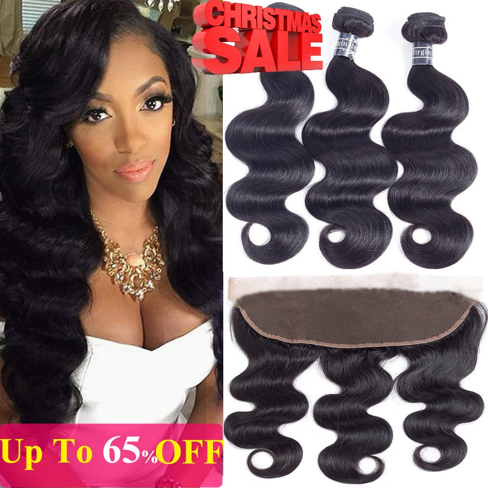 10A Brazilian Body Wave with Lace Frontal(14 16 18+12 Frontal)100% Unprocessed Brazilian Body Wave Frontal with Baby Hair Top Brazilian Virgin Hair Lace Frontal Closure With Baby Hair Natural Color