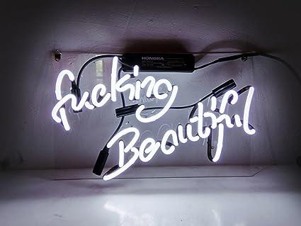 "KUKUU Neon Light Sign Decor Fucking Beautiful Real Glass Handmade 16x  9.8"""
