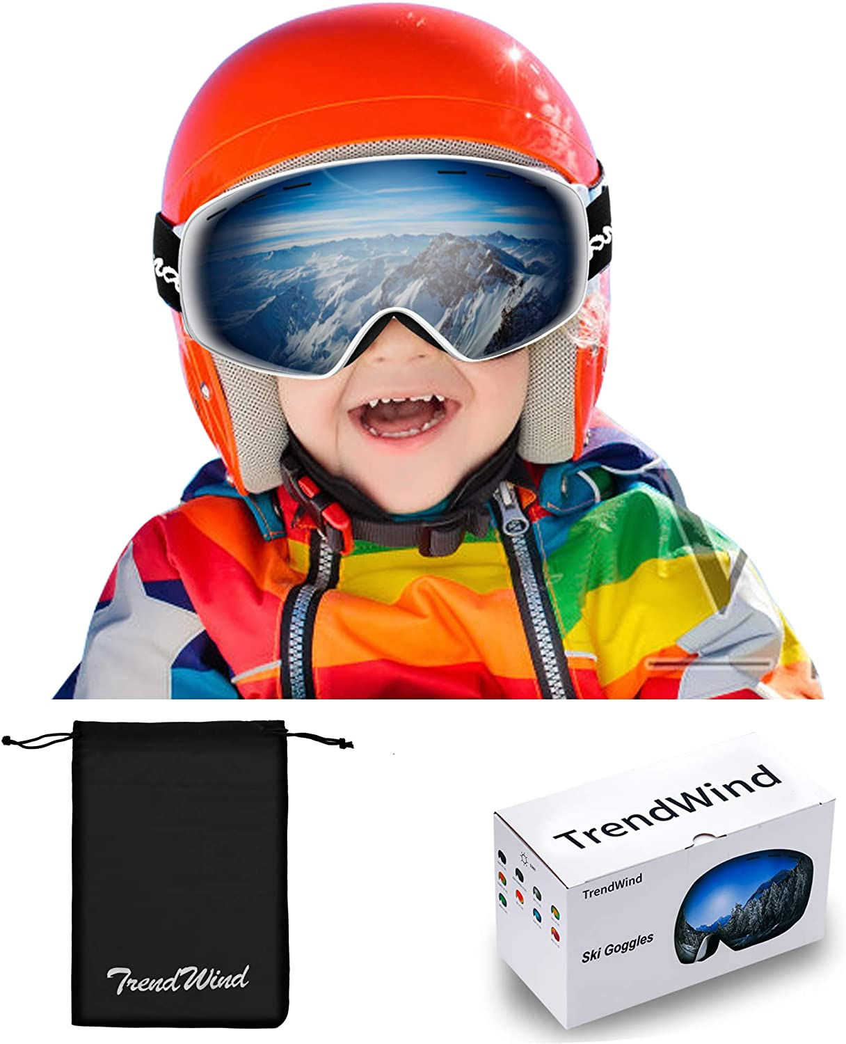 OutsideToe Ski Goggles 1 Pack Include Cleaning Cloth with 100/% UV400 Protection Anti-Glare Lens Wind Resistance Snowboard Goggles for Kids Boys Girls Youth Men Women