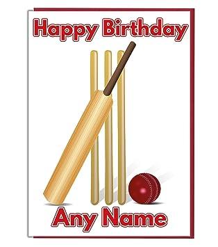 Ak Giftshop Cricket Themed Personalised Birthday Card Add