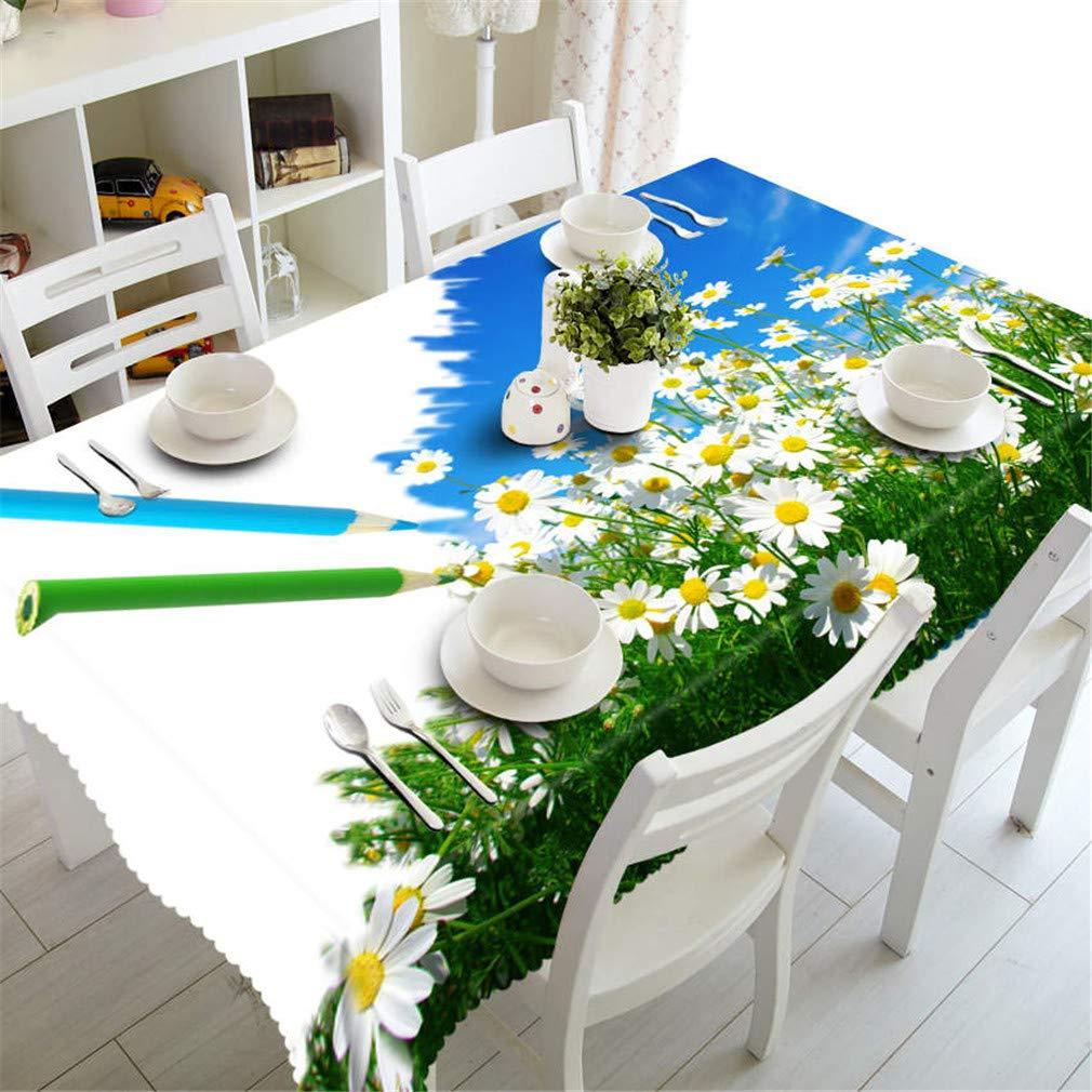 Couleur 1 180cm X 270cm 3D Nappe Jaune Motif Tournesol Imperméable à l'eau à l'huile épaissir Polyester Rectangulaire Table De Table Textile Textile Couleur 7 150cm X 230cm