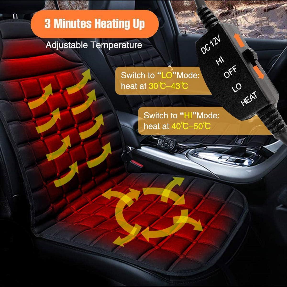 Blu Jcsdhly 12V Auto Coprisedile riscaldato Ispessimento Caldo Caldo Cuscino tampone per Tempo Freddo Inverno Autista sede Ufficio Sedia