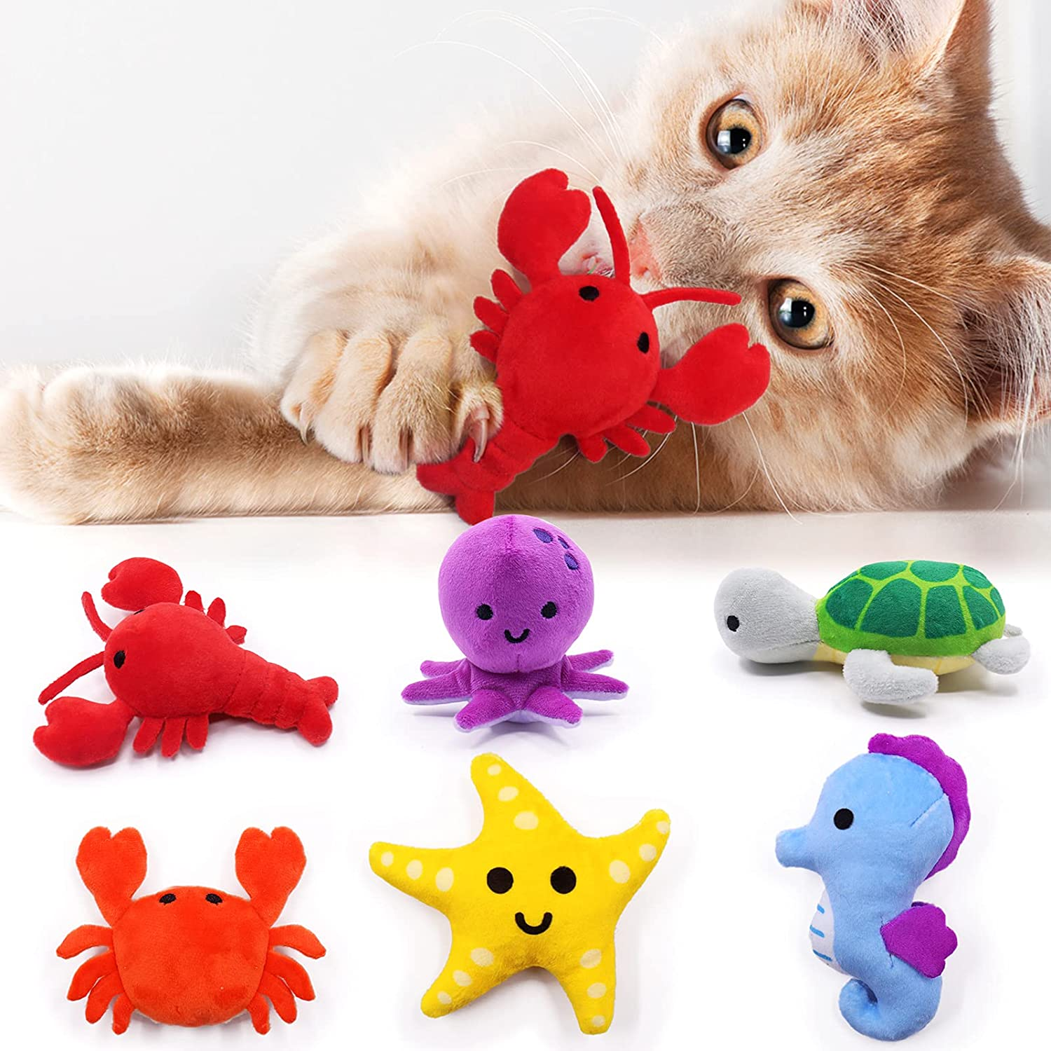 Sea Animals Catnip Toys Seafood Kitten Interactive Toys for Cat Lovers Gifts Kitty Chew Bite Kick Toys Supplies Lobster Octopus Crab Starfish Seahorse Sea Turtle Plush Catmint Pet Presents Set of 6