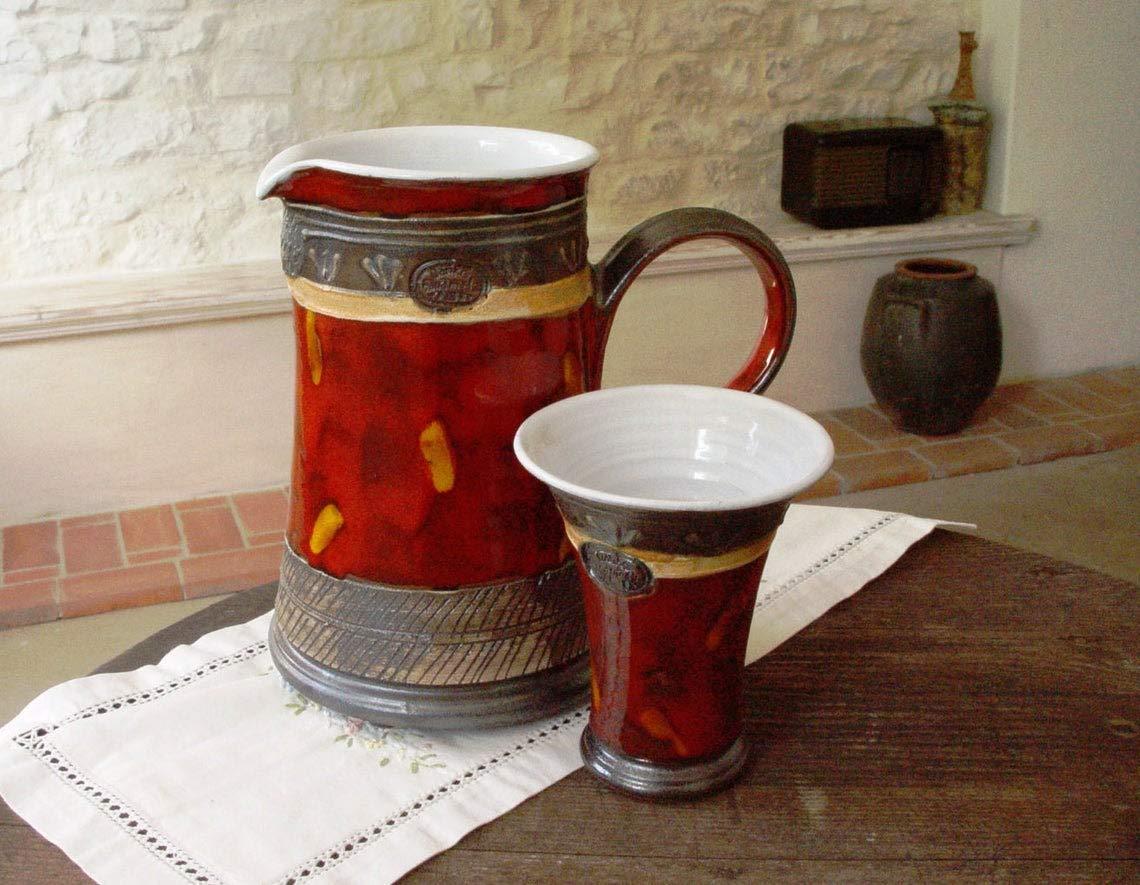 Ceramic Art Clay Kitchen Danko pottery Earthen Vessel Handmade Ceramic Jug Pottery Water Pitcher Unique Red Wheel Thrown Ewer