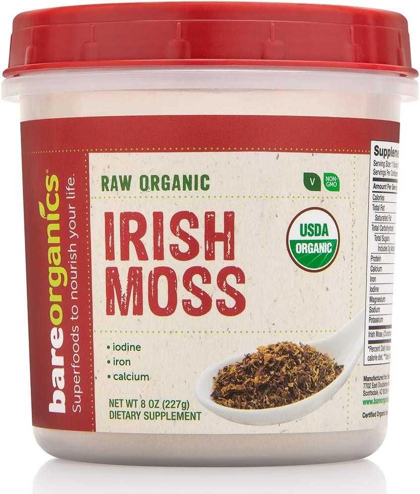 BareOrganics Irish Moss, Superfood Powder, Keto & Paleo, Vegan, Organic, 8 Ounce