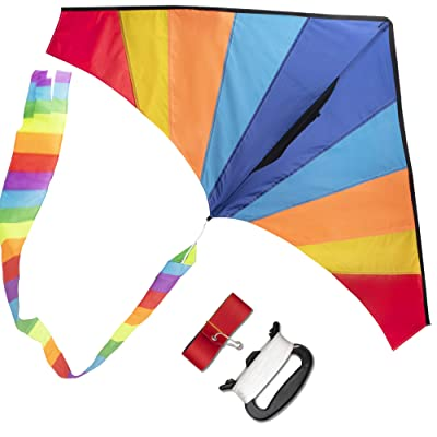 WISESTAR Large Delta Rainbow Kite for Kids and Adults with 2 Kite Tails, 328FT Kite String & Handle - Easy to Assemble & Fly, Premium Ripstop Fabric, Great Beginner Kite for Beach & Outdoor Activities: Toys & Games