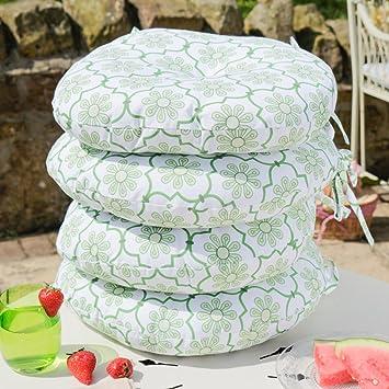 Conjunto de cuatro Retro Botánico verde diseño asiento almohadillas para cualquier fuera silla de comedor,