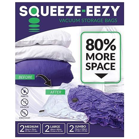 Bolsas de ahorro de espacio de almacenamiento al vacío con bomba de mano para la ropa, edredones, almohadas y viaje – Jumbo, grande, tamaño mediano – ...