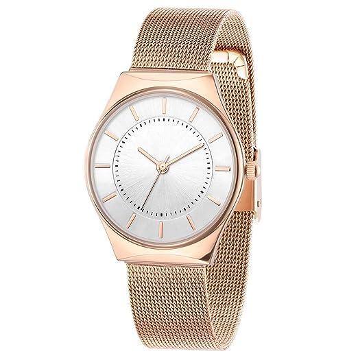 Reloj de mujer impermeable moda mujer 2018 Nuevo de mediana edad moda mujer mamá rosa oro genuino Slim: Amazon.es: Relojes