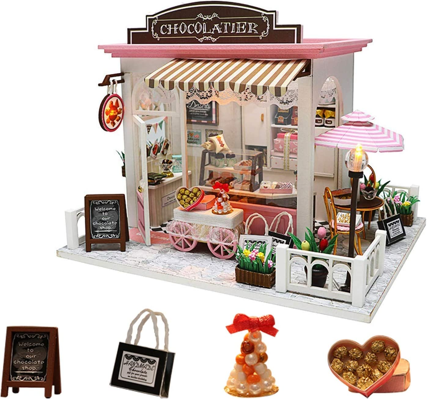 ARELUX Dollhouse Miniature with Furniture, 3D Wooden DIY Dollhouse Kit with Dust Proof and Music Movement, 1:24 Scale Creative Room Idea,Gifts for Valentine,Birthday, Christmas