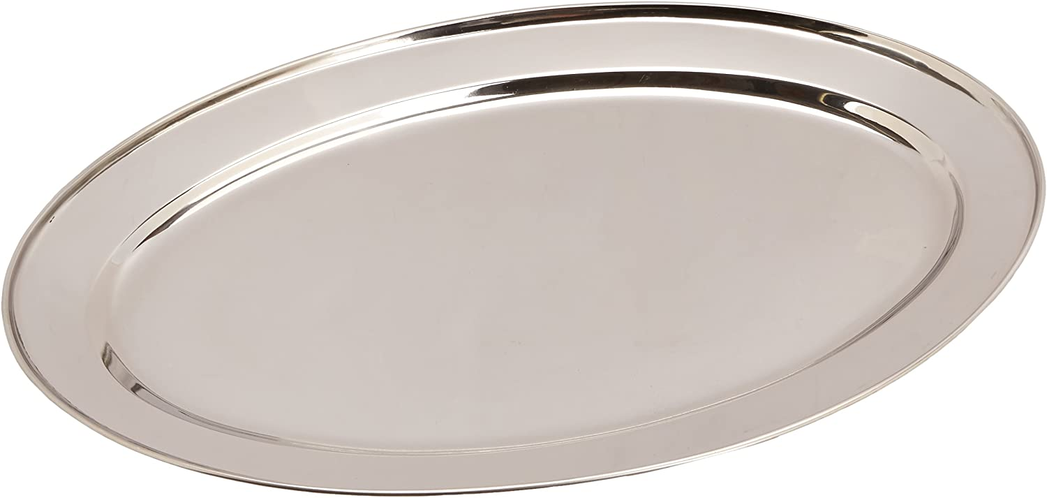 Winco Stainless Steel OPL-18 Oval Platter, 18 11.5-Inch