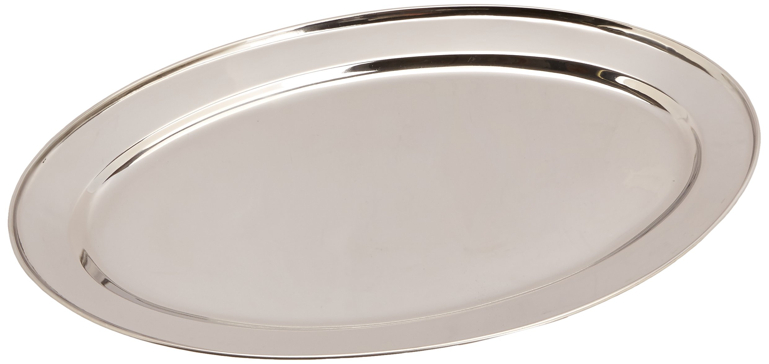 Winco OPL-18 Stainless Steel Oval Platter, 18-Inch by 11.5-Inch