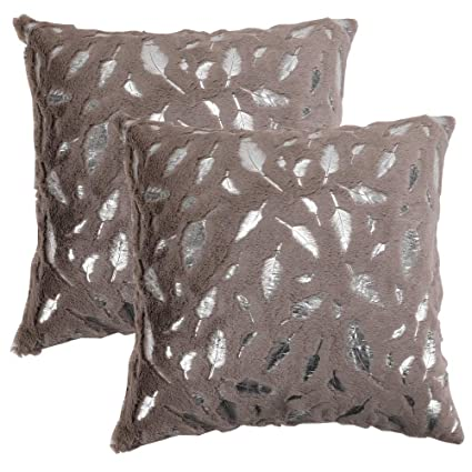 OMMATO Throw Pillows Covers 18 x 18,Set of 2 Brown Fur with Silver Leaves  Soft Throw Pillows for Couch Bed,Tan Accent Home Decorative Square Cushions  ...