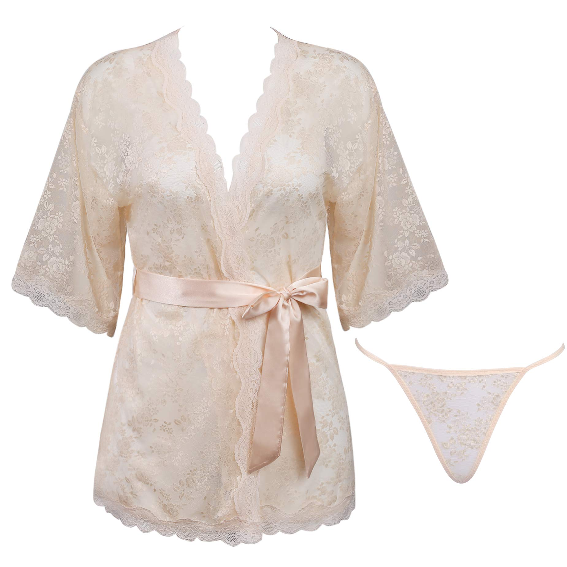 bed6ea4f0cacd Womens Sexy Lace Kimono Lingerie Robe Mesh Babydoll Set Sheer Nightgown  (Light Pink, Large)
