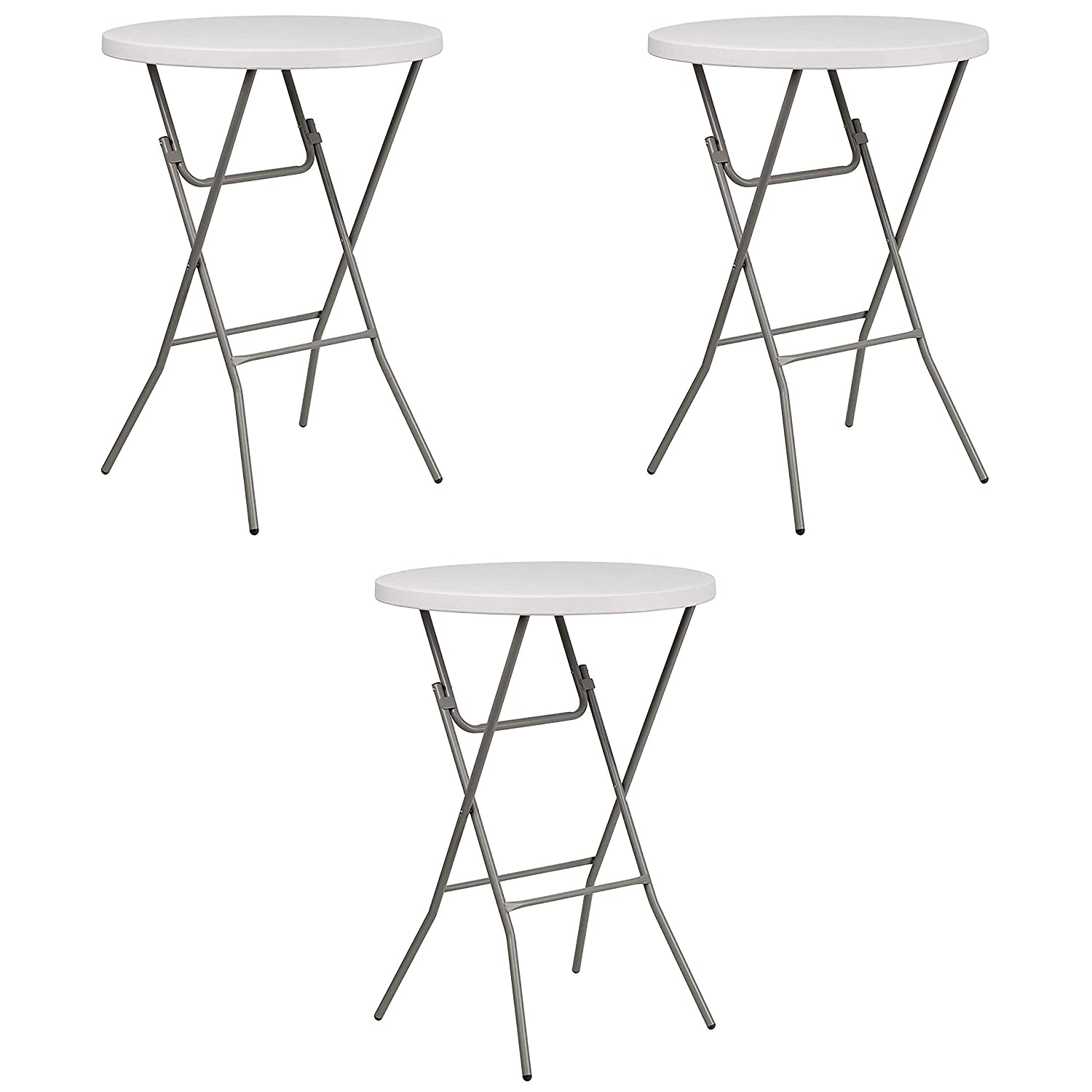 Flash Furniture 3-Foot Round Granite White Plastic Bar Height Folding Table Pack of 2