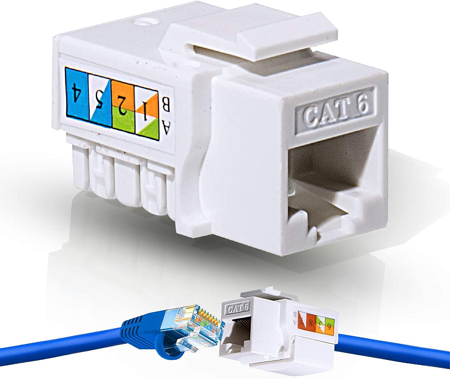 Bundle 50//50 Pack of Cat6//6A Pass Through Connectors and Strain Relief Boots 2 Items Speed Termination Tool with 20 Pack of RJ45 Keystone Jacks