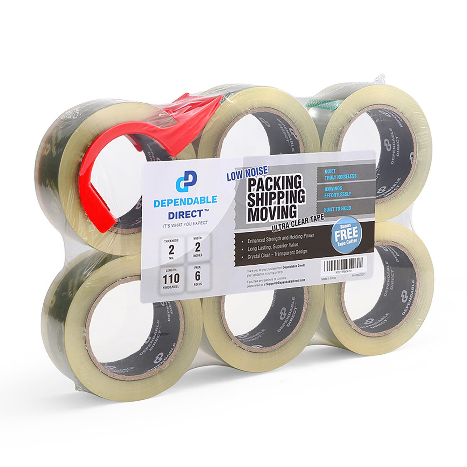 Ultra Quiet, Industrial Grade Clear Packing Tape (6 Rolls) - 110 Yards per Roll - 2'' Wide x 2 mil Thick, Acrylic Adhesive Heavy Duty Tape for Box Office Moving Packaging Shipping, Free Tape Cutter
