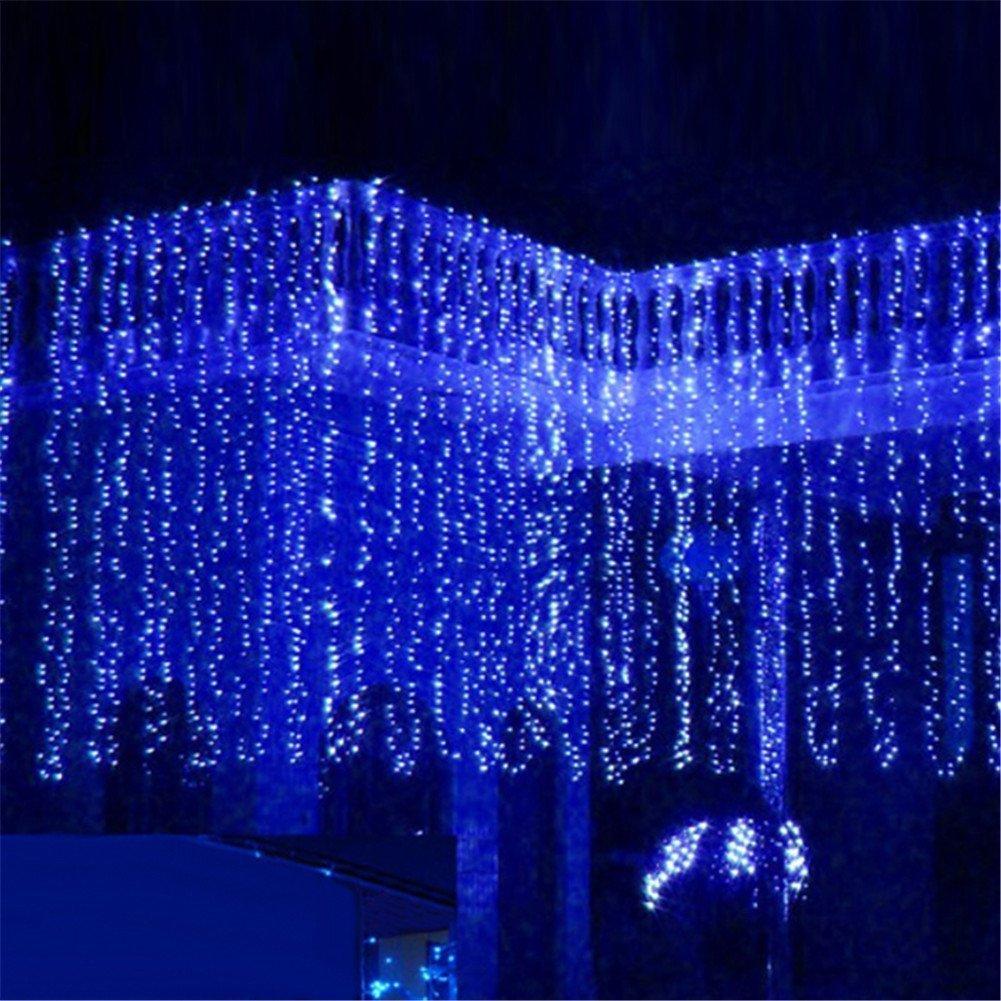 8つのモードの選択3m X 8m 800 LED屋内/屋外パーティークリスマスXmas文字列妖精のウェディングカーテンライト (青) B014BLMGU0 青 青
