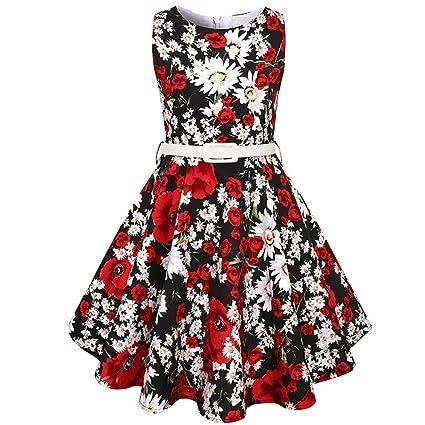 Zantec Niñas sin mangas de cuello redondo estampado de flores Vestido de princesa vestido de fiesta