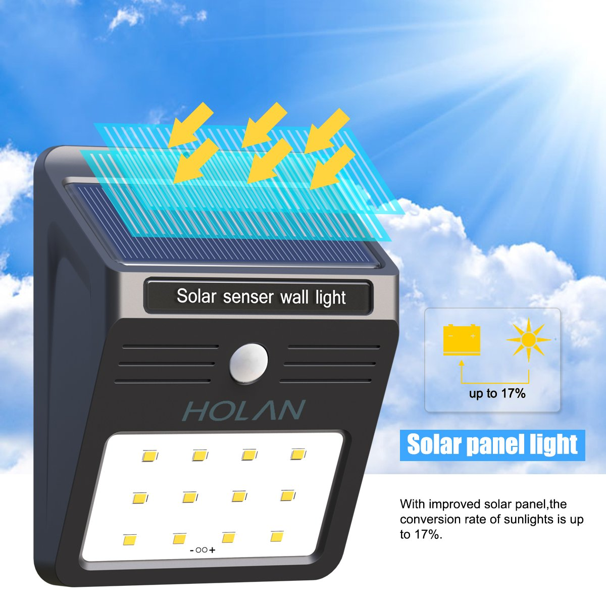 Mulcolor 12 LED Solar Lights Waterproof Solar Powered Motion Sensor Light Wireless Led Security Lights Outdoor Wall Light … by Mulcolor (Image #4)