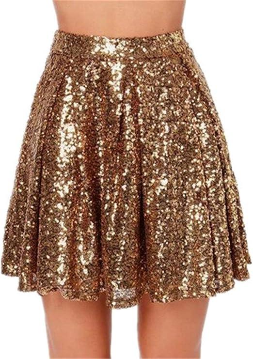 Falda para Mujer Falda Vogue Short Casual Mini Falda Glitter ...