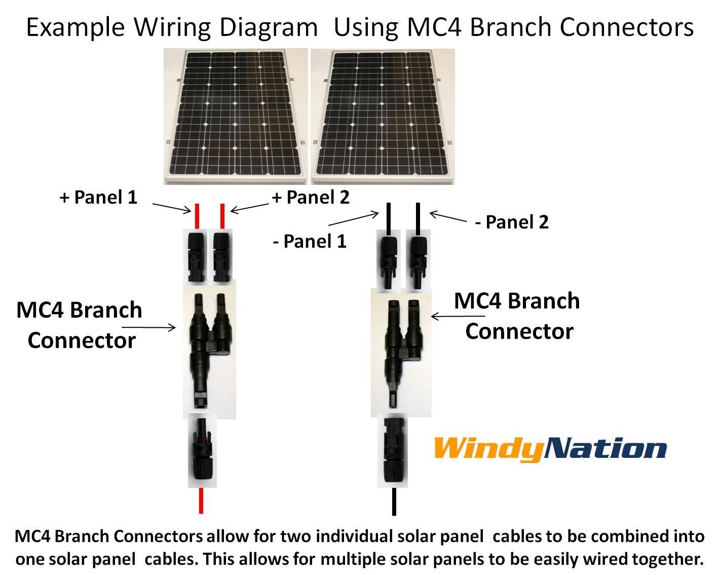 amazon com two pairs solar panel mc4 t branch connectors cable rh amazon com Solar Panel Wire Connectors Wiring Solar Panels Together