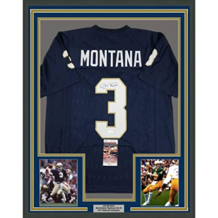 e5e4b392d Framed Autographed/Signed Joe Montana 33x42 Notre Dame Blue College Football  Jersey JSA COA at Amazon's Sports Collectibles Store