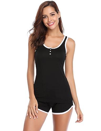 Aibrou Ladies Soft Pyjama Set, Plain Cami Vest Top & Shorts Nightwear, 2 Pieces PJS Sleepwear