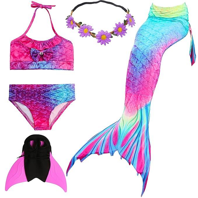 UniDesign Disfrazar Bañador Traje Cola de Sirena para Natación con Bikini y Aleta Monoaleta