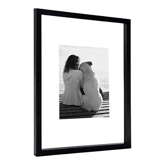 8a40b2b24c1c Amazon.com - DesignOvation Gallery Float Glass Modern Wood Picture Frame