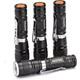 Pack of 4, AUOPRO Mini Pocket Torch Light Zoomable Handheld LED Flashlights with Clip, 3 Modes for Emergency, Camping and EDC